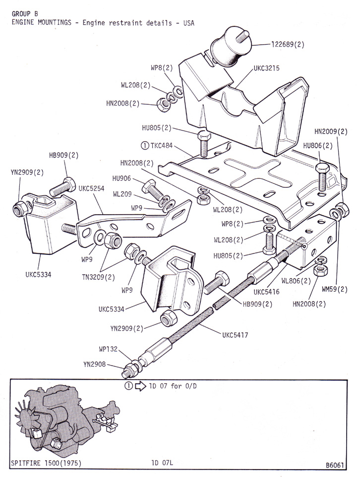 engine mountings - engine restraint details