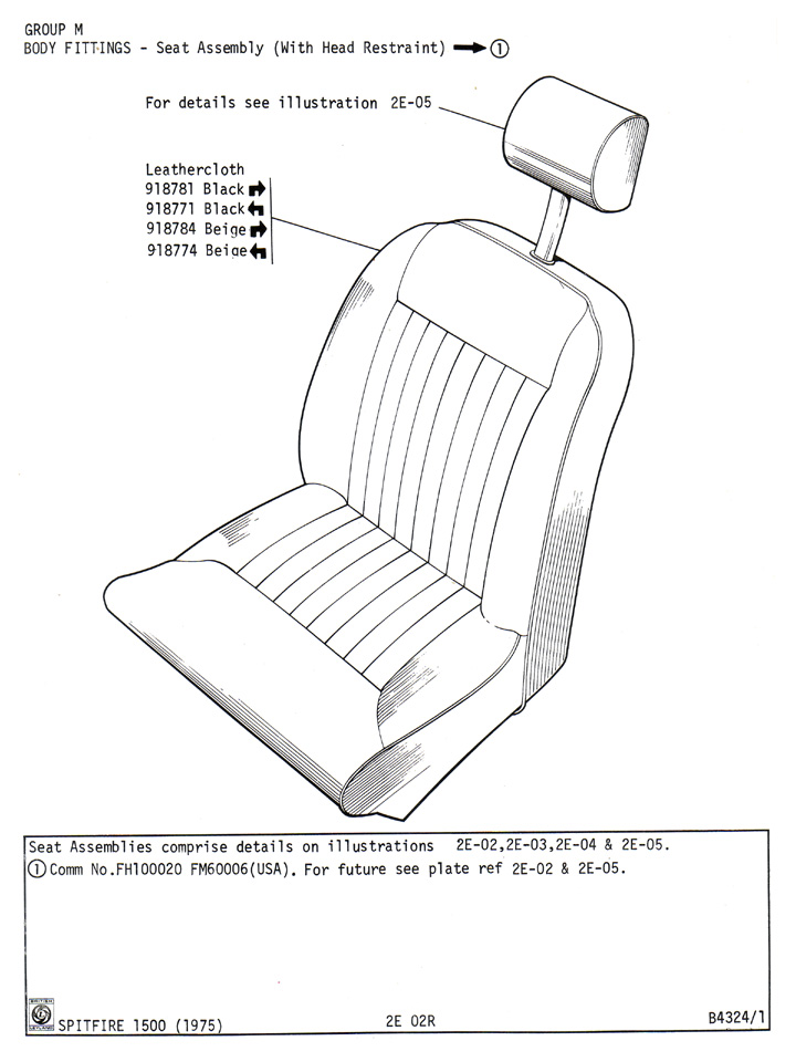 Seat Assembly  With Head Restraint    Canley Classics