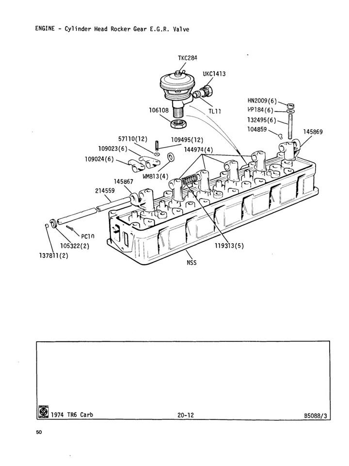 cylinder head rocker gear e g r  valve   canley classics